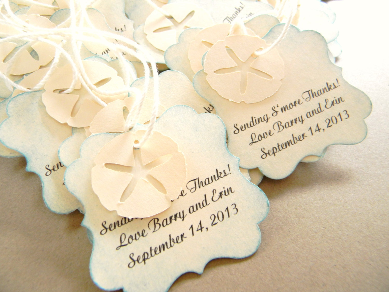 beach wedding favor tags for bags starfish sand dollar tags