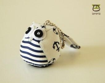 Navy - Owl Doll with a Bag: owl plush, owl decor, little, mini, kid, anchor, stripe, cream, white, sea, owl decoration, kawaii, cute, room