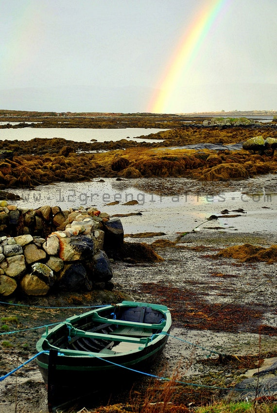 "Ireland Landscape Photograph of a Connemara boat by sunset 18"" x 12"""
