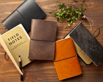 Leather Notebook Cover - Saddle Tan color  Field Notes/Moleskine notebook cover made from veg tan leather