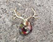 Fused Glass Deer Skull Pendant