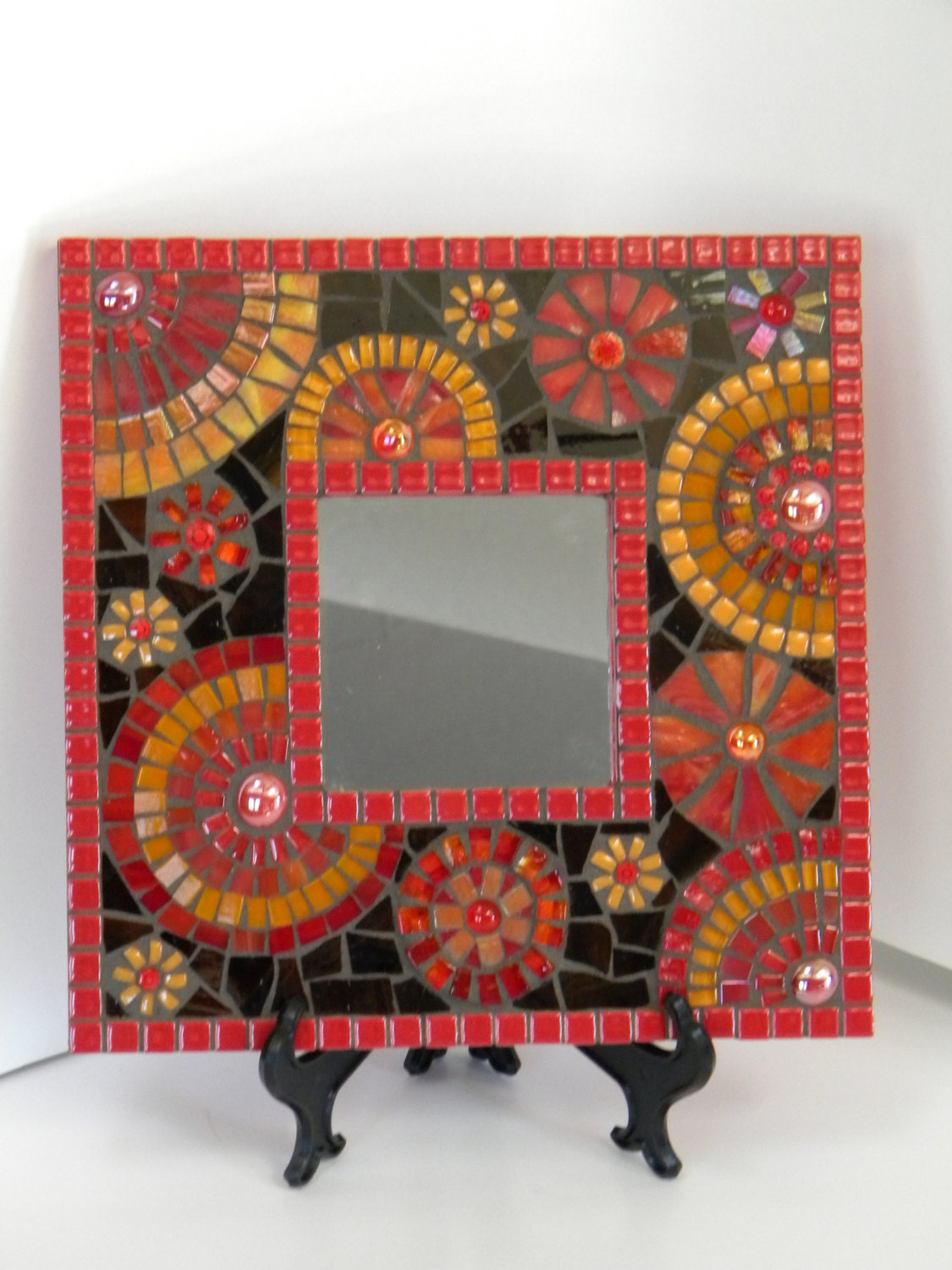 Blazing Red And Orange Square Mosaic Mirror Original Art