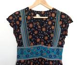 Vintage 70s Maxi Dress Black Blue and Orange Floral (size 8-10)