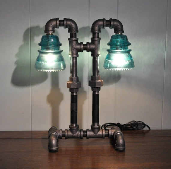 Twin Column Glass Insulator Dual Light Desk Lamp