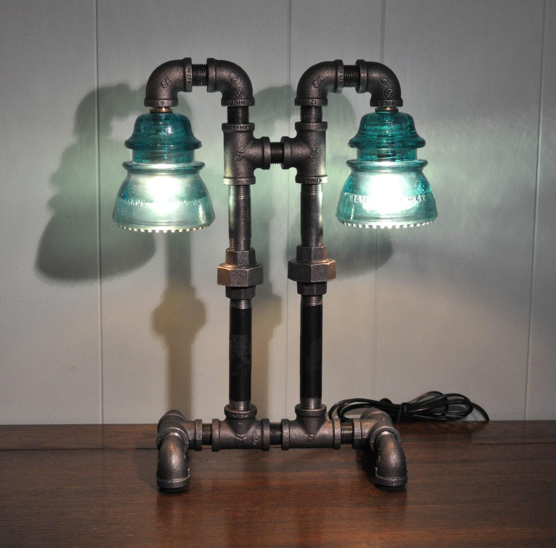 Twin Column Glass Insulator Dual Light Desk Lamp