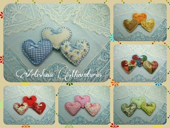 Hearts cushions dollhouse, hearts pillows miniature, fabric hearts miniature, handmade miniature - Dollhouses  Miniature scale 1:12