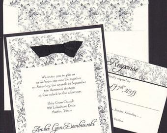 Vintage Wedding Invitation, Romantic Wedding Invitation, Traditional Wedding Invitation, Black and Cream Wedding Invitation, Shabby Chic
