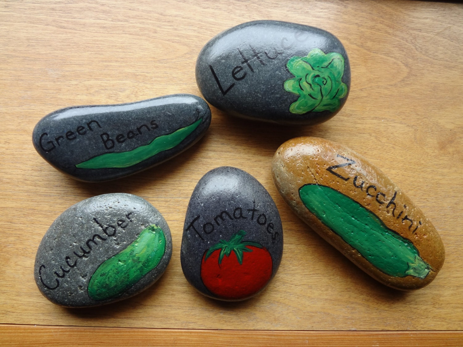 Hand painted stone vegetable garden markers set by - Hand painted garden stones ...