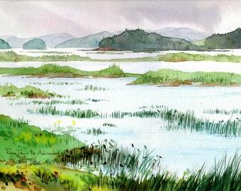Adirondack Lake (Raquette Pond) - print of an original watercolor