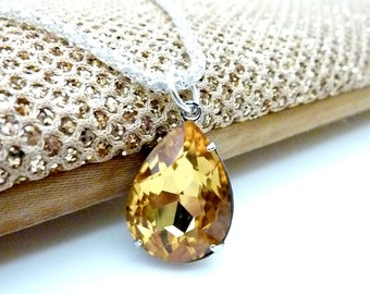 Yellow Topaz Necklace Golden Yellow Necklace November Birthstone Crystal Pendant Bridesmaids Wedding Necklace