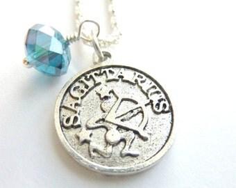 SAGITTARIUS Necklace December birthstone Zodiac jewelry Blue Zircon crystal silver chain