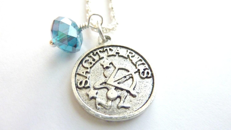 sagittarius necklace december birthstone zodiac jewelry blue. Black Bedroom Furniture Sets. Home Design Ideas
