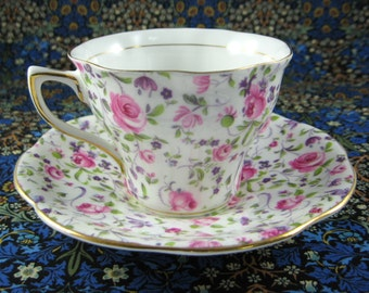Vintage Rosina Floral Chintz Cup And Saucer Pink Purple England Vintage 1950s Afternoon Tea