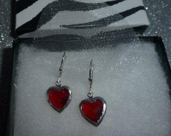 Red Quartz Heart Drop Earrings in Sterling Silver