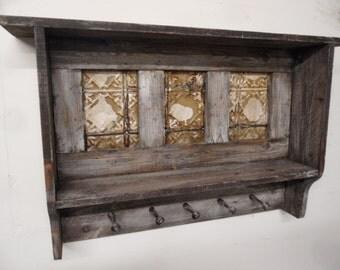 Primitive wall shelf, Antique style coat rack, primitive hat rack, shaker pegs, antique ceiling tins, rustic hall tree, rustic coat rack