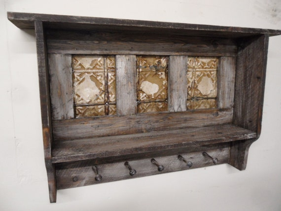Primitive wall shelf antique style coat rack by lynxcreekdesigns - Adding character to your hallway with a hall tree ...