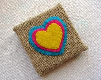Burlap & Felt Heart 3x3 inch Mini Wall Art/Cute Gift