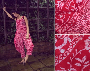 Handmade Batik Jumpsuit with elasticated waist.  Red and White floral lightweight cotton.