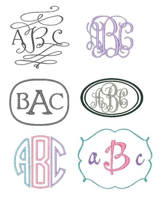 Set of monogram embroidery fonts instant download