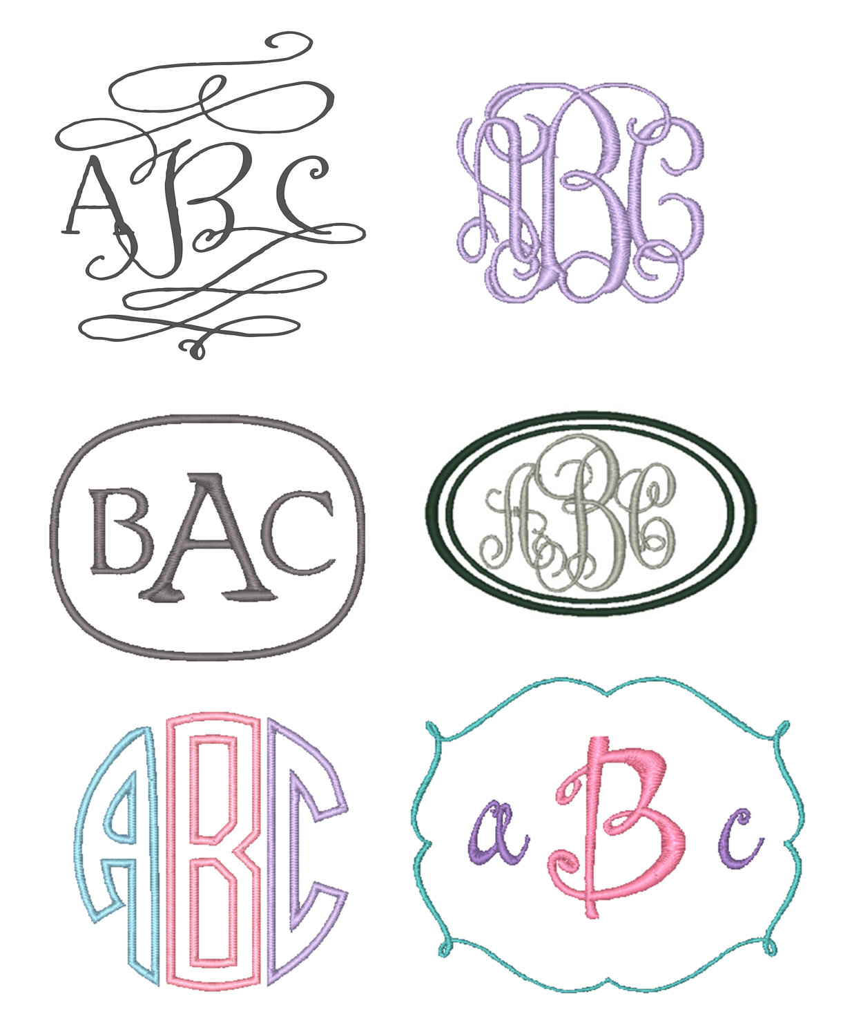 Set Of 6 Monogram Embroidery Fonts Instant Download