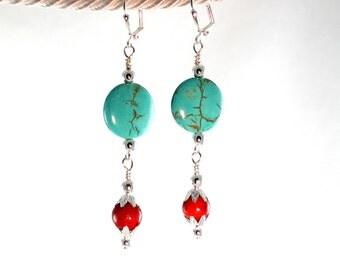 Arizona Sunset-Turquoise-Magnesite-Coral-Earrings