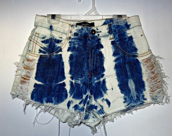 High Waisted Distressed Marbled Shorts
