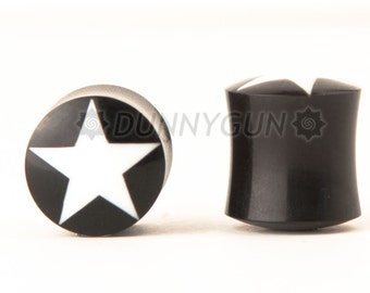 "9/16"" Pair White Star Horn Gauged Plugs Free Shipping Organic Body Piercing Jewelry Gauge"