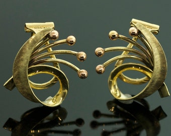 Two Tone Gold Vintage Earrings