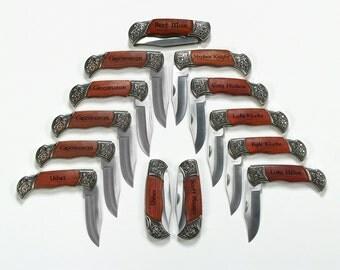 Groomsmen knife- 13 Personalized Laser Engraved Rosewood Deco Grip Hunting / Pocket Knives