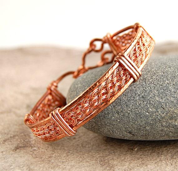 Wire Wrapped Woven Bracelet - Copper Bangle Bracelet