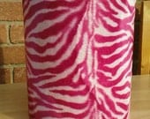 """8"""" Handmade Funky Pink and White Zebra Animal Print Faux Fur Drum lampshade"""