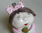 OOAK Handmade Ceramic Collection ART DOLL Carol Girl With Bunch Of Flowers, Pink Dress, White Polka Dots, Bordeaux Shoes, Green Eyes