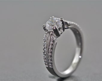 14kt White Gold and Diamond Solitaire Engagement Ring With 1.00 Carat White Sapphire Center