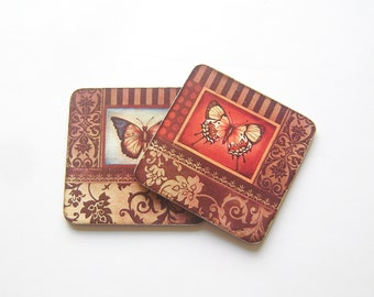 Butterfly Coasters,Wood Wooden Square Vintage Style Coasters, Set of two, Gift for her, Valentines day