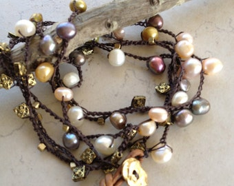 "Boho Beaded Crochet ""Corolla"" Wrap Bracelet and Necklace Combo, Earth tone Freshwater Pearls"