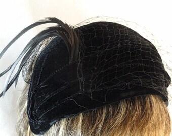 Black Velvet HeadBand with Long Feather Hat - Velvet Cap with Netting- H-030a-040913015