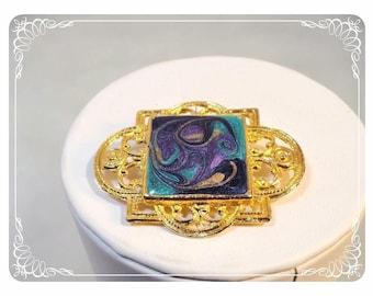 Vintage Abstract Enamel Brooch - Modernist Art Brooch   -   1441a-030513010