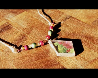 Wear Your Veggies Lettuce Recycled Stained Glass Necklace