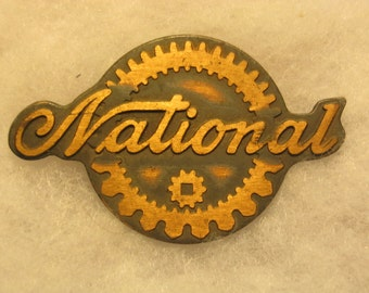 Vintage National Cash Register Brass Nameplate, NCR Collectible