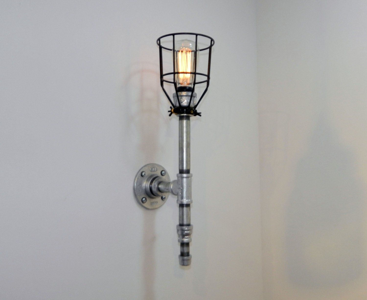 Industrial Iron Wall Sconces : Wall Sconce: Galvanized Malleable Iron Industrial Steampunk