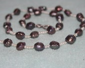 pearl necklace white seed pearls black rose buds pearls short young extra different
