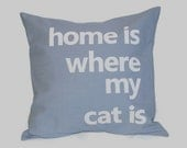 "18""x18""  'Home is where my cat is'  Pillow COVER"