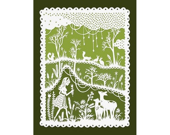 5x7 Papercut Print - Green Meadows - Girl and a Deer -  Original Illustration