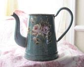 Romantic Antique French Enamelware Coffee Pot