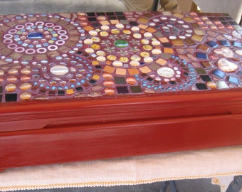 Mosaic Box made from old silverware box. This tesserae on this box is higher quality; beads, stones and turquoise.