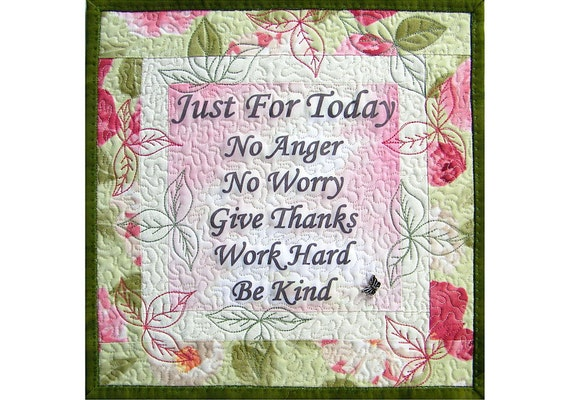 Wall Hanging Art Quilt, Inspirational Words, Cottage Chic,Under 50