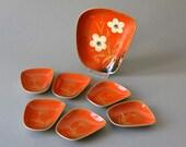 RESERVED Vintage West German bavarian pottery modern plate set poppy red gold PMR Bavaria Jaeger & Co.