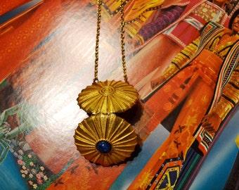 Vintage Compact Brass Necklace // Estee Lauder Solid Perfume Locket Necklace