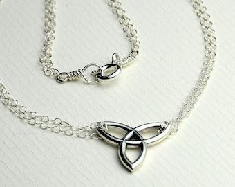 All Sterling Celtic Necklace, Celtic Trinity Knot Festoon Necklace