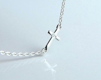 All Sterling Mini Sideways Cross Bracelet, minimalist, jewelry, sterling , dainty , side way cross jewelry